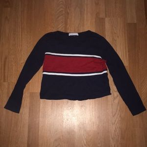 Red White and Navy Blue Striped Long Sleeve Crop